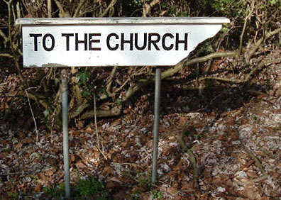 to the church sign